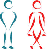 Funny toilet symbol. Funny abstract toilet symbol man and woman Royalty Free Stock Photography