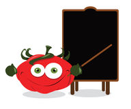 Funny tomato and a blackboard Stock Photography