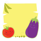 Funny tomato and eggplant. Vector illustration of funny cartoon tomato and eggplant on a yellow background. Place for text. Retro style Royalty Free Stock Image