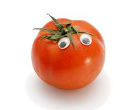 Funny tomato with eyes isolated Stock Photography