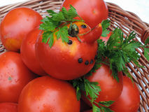Funny tomato in a wicker basket and parsley leaves Royalty Free Stock Photography