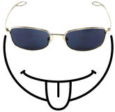 Funny tongue-sticking smiley f. Ace composed of a sunglass as eyes and the rest of the face drawn with black lines stock illustration