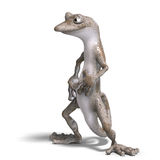 Funny toon gecko. 3D render with clipping path and shadow over white Royalty Free Stock Photography