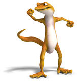 Funny toon gecko. 3D render with clipping path and shadow over white Royalty Free Stock Image