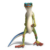 Funny toon gecko. 3D render with clipping path and shadow over white royalty free illustration