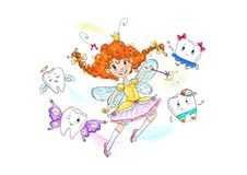 Funny tooth fairy cartoon illustration Stock Image