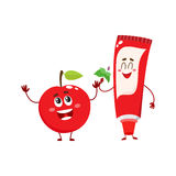 Funny toothpaste and red apple character, dental care concept Stock Images