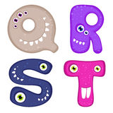 Funny Toothy Monster Alphabet Stock Images