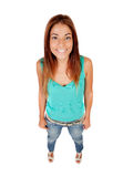 Funny top view of a beautiful girl Royalty Free Stock Images