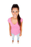 Funny top view of a beautiful girl Royalty Free Stock Photos