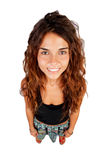 Funny top view of a beautiful girl Royalty Free Stock Image