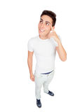 Funny top view of a casual boy Royalty Free Stock Photos