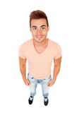 Funny top view of a casual boy Royalty Free Stock Images