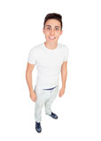 Funny top view of a casual boy Royalty Free Stock Photography