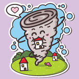 Funny tornado. Vector illustration of kawaii tornadoes which is eating house Stock Image