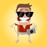 Funny tourist with camera and sunglasses. Illustration of a funny tourist with camera and sunglasses stock illustration