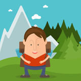 Funny  tourist in cartoon style in forest  mountains. Vec Stock Images