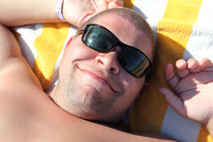 Funny tourist face in sunglasses stock photos