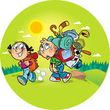 Funny tourists. On the illustration, the children go to a camping trip on the nature. Girl goes easily with a small backpack, a boy burdened by a heavy load and Royalty Free Stock Photo