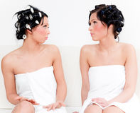 Funny towel friends Stock Images