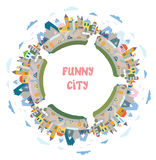 Funny town round frame - design element Royalty Free Stock Photography