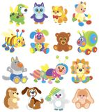 Funny toy animals friendly smiling royalty free stock images