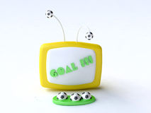 Funny Toy Computer with Soccer Balls. 3D Funny toy computer illustration Stock Images