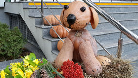 Funny toy dog made of pumpkins, harvest festival. Funny puppy made of pumpkins on the stairs, autumn composition in city park Royalty Free Stock Images