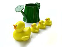 Funny Toy Ducklings near Green Watering can Royalty Free Stock Photos
