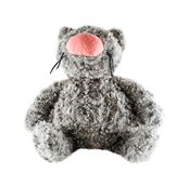 Funny toy gray cat isolated on white background. Fluffy toy cat with big pink nose. Close up Royalty Free Stock Photography