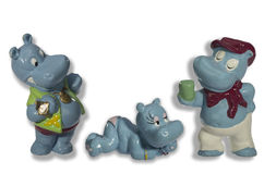 Funny toy hippos stock images