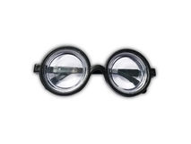 Funny toy short-sighted glasses with heavy scratching. Isolated on white Royalty Free Stock Photography