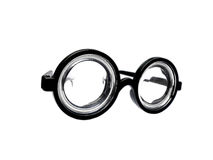 Funny toy short-sighted glasses with heavy scratching Royalty Free Stock Photography
