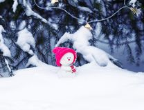 Toy snowman in a bright pink cap sitting in the Park with a gift under the tree in glowing garlands. Funny toy snowman in a bright pink cap sitting in the Park stock image