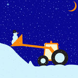 Funny tractor and snowman Royalty Free Stock Image
