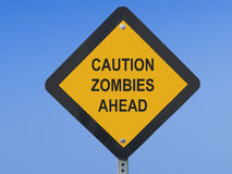 Funny Traffic Sign Drunk Driving. Funny traffic sign warning against zombies ahead Stock Image