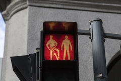 Funny traffic sign. Funny traffic light sign showing pedestrian and person on bicycle Stock Photo