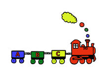 Funny train. Funny educational train with letters Royalty Free Stock Image