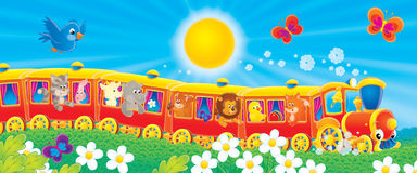 Funny Train. Children's book illustration for yours design, postcard, album, cover, scrapbook, etc Royalty Free Stock Photography
