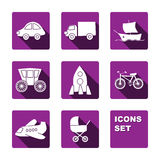 Funny transport icons set Stock Images