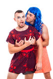 Funny transvestites having fun Stock Photos