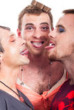 Funny transvestites sticking out tongue Royalty Free Stock Images