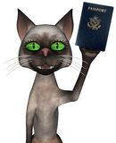 Funny Travel Passport Cat Isolated Royalty Free Stock Images