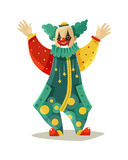 Funny Traveling Circus Clown Colorful Icon. Traveling circus traditional clown figure in funny costume and makeup greeting public colorful icon vector Stock Photos