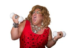 Funny travesty actor. Drag queen. Fat man and make-up.. Isolated. Funny travesty actor. Drag queen. Fat man and make-up stock image