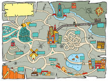 Funny treasure map. Cartoon illustration of a map for a treasure quest Stock Photo