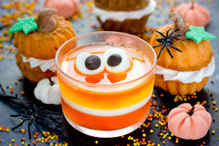 Funny treats for kids for Halloween - jelly candy corn, pumpkin Stock Image