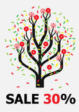 Funny tree. Tree with multi-coloured leaves and red fruits vector illustration