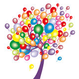 Funny tree with balloons Royalty Free Stock Image