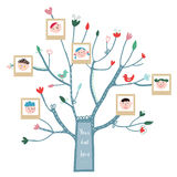 Funny tree card with family portraits Stock Photos